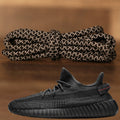 The black Yeezy 350 V2 reflective rope yeezy matching shoe laces alongside the Yeezy 350 V2 Black