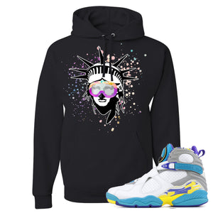 Air Jordan 8 WMNS White Aqua Sneaker Hook Up Liberty Head Black Hoodie