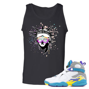 Air Jordan 8 WMNS White Aqua Sneaker Hook Up Liberty Head Black Mens Tank Top