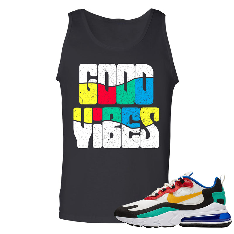 Nike Air Max 270 React Bauhaus Sneaker Hook Up Good Vibes Black Mens Tank Top