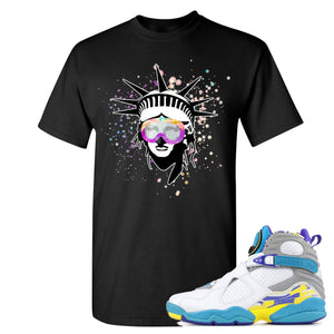 Air Jordan 8 WMNS White Aqua Sneaker Hook Up Liberty Head Black T-Shirt