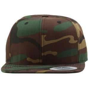 the blank camouflage snapback hat is solid camouflage with a structured crown and a flat brim