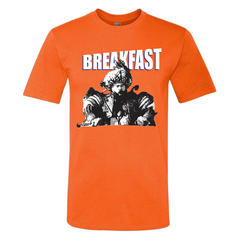 on the front of the jason kelce breakfast t-shirt is the word breakfast printed in white and blue above a black and white image of jason kelce wearing a mummers outfit at the philadelphia super bowl victory parade