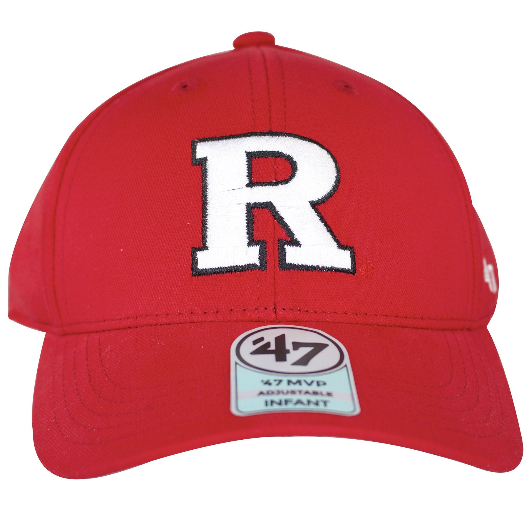 Letter R is embroidered in the front of this red Rutgers Scarlet Knights  kids dad hat 5245c72aa3d