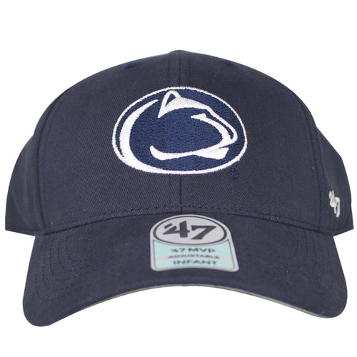 Penn State Nittany Lions logo can be seen embroidered on the front of this Basic MVP Dad Hat made for Infants.