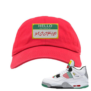 Jordan 4 WMNS Carnival Sneaker Red Dad Hat | Hat to match Do The Right Thing 4s | Hello My Name Is Mookie