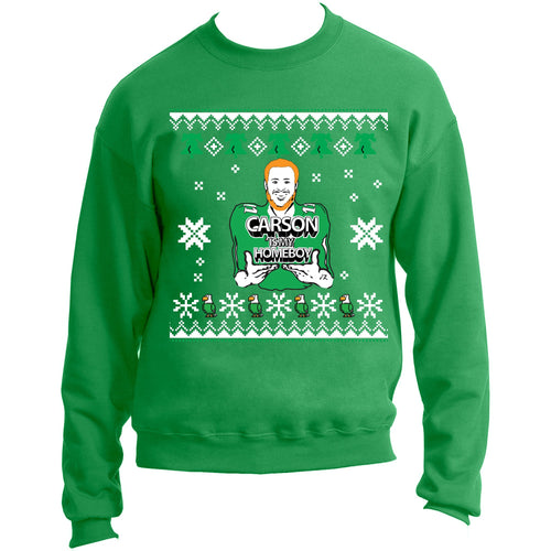 "on the front of the kelly green carson is my homeboy ugly christmas sweater is an image of carson wentz with the lettering ""carson is my homeboy"" printed in white and black. surrounding carson wentz is an ugly christmas sweater design printed in white"