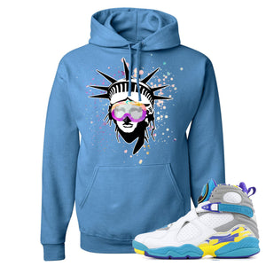 Air Jordan 8 WMNS White Aqua Sneaker Hook Up Liberty Head Columbia Blue Hoodie