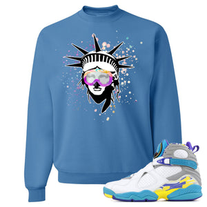 Air Jordan 8 WMNS White Aqua Sneaker Hook Up Liberty Head Columbia Blue Sweater