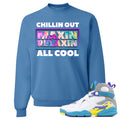 Air Jordan 8 WMNS White Aqua Sneaker Hook Up Chillin Out Maxin Relaxin All Cool Columbia Blue Sweater