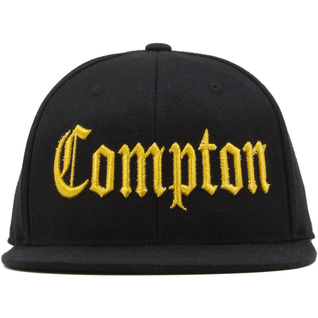 c26e5e05e7d The Straight Outta Compton snapback hat features the word Compton  embroidered on the front in metallic