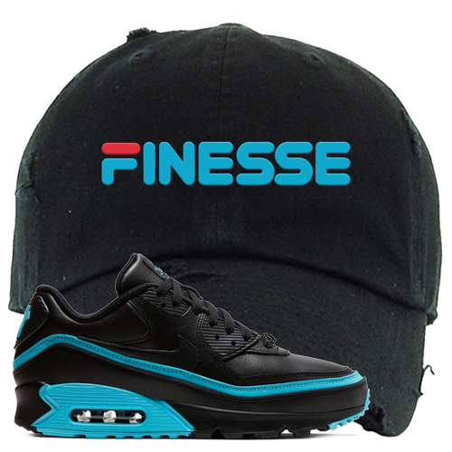 Undefeated x Nike Air Max 90 Black Blue Fury Finesse Black Sneaker Matching Distressed Dad Hat