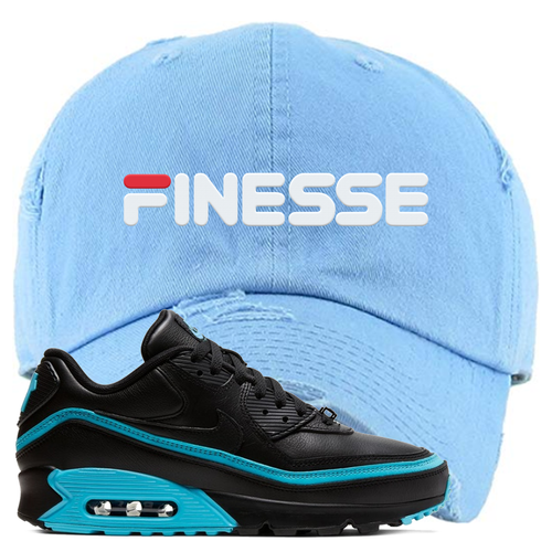 Undefeated x Nike Air Max 90 Black Blue Fury Finesse Light Blue Sneaker Matching Distressed Dad Hat