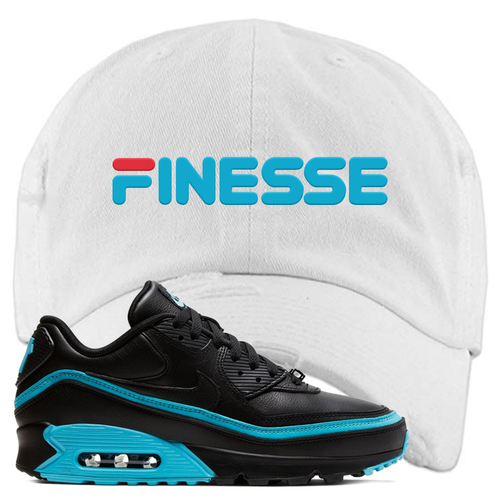 Undefeated x Nike Air Max 90 Black Blue Fury Finesse White Sneaker Matching Distressed Dad Hat