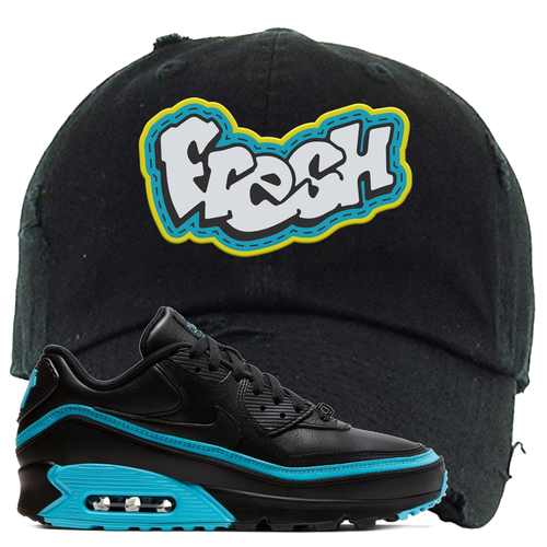 Undefeated x Nike Air Max 90 Black Blue Fury Fresh Black Sneaker Matching Distressed Dad Hat