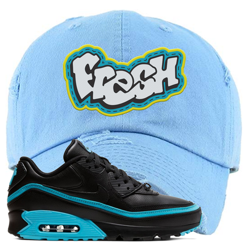 Undefeated x Nike Air Max 90 Black Blue Fury Fresh Light Blue Sneaker Matching Distressed Dad Hat
