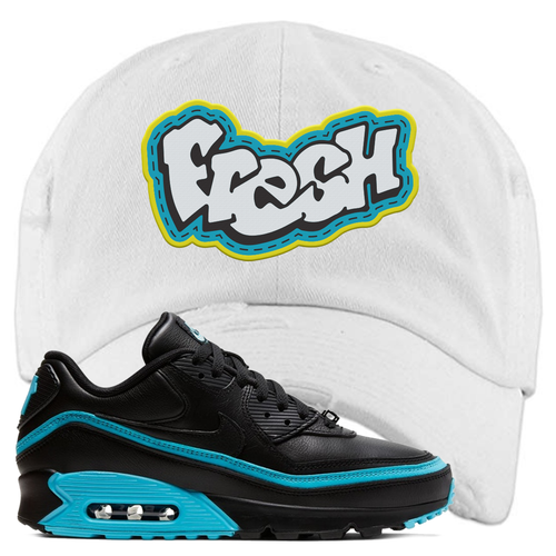 Undefeated x Nike Air Max 90 Black Blue Fury Fresh White Sneaker Matching Distressed Dad Hat