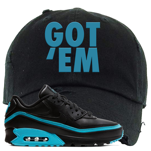 Undefeated x Nike Air Max 90 Black Blue Fury Got Em Black Sneaker Matching Distressed Dad Hat
