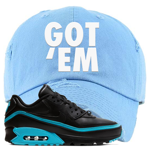 Undefeated x Nike Air Max 90 Black Blue Fury Got Em Light Blue Sneaker Matching Distressed Dad Hat