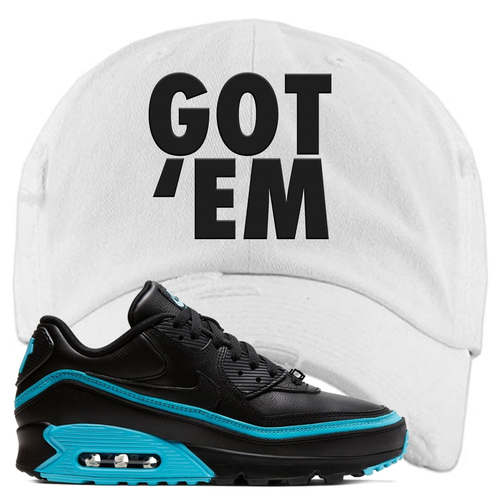 Undefeated x Nike Air Max 90 Black Blue Fury Got Em White Sneaker Matching Distressed Dad Hat