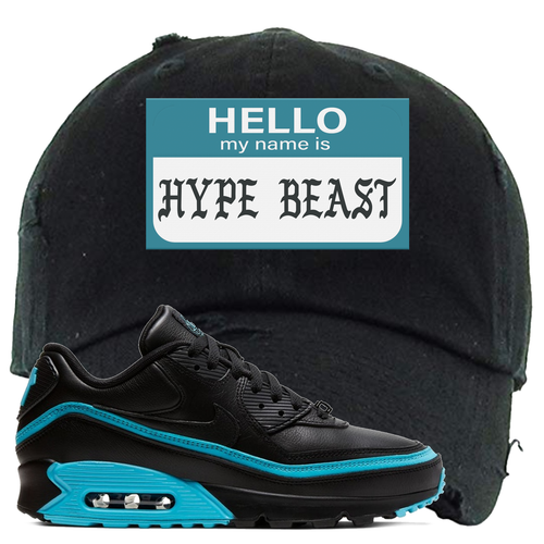 Undefeated x Nike Air Max 90 Black Blue Fury Hello My Name is Hype Beast Black Sneaker Matching Distressed Dad Hat