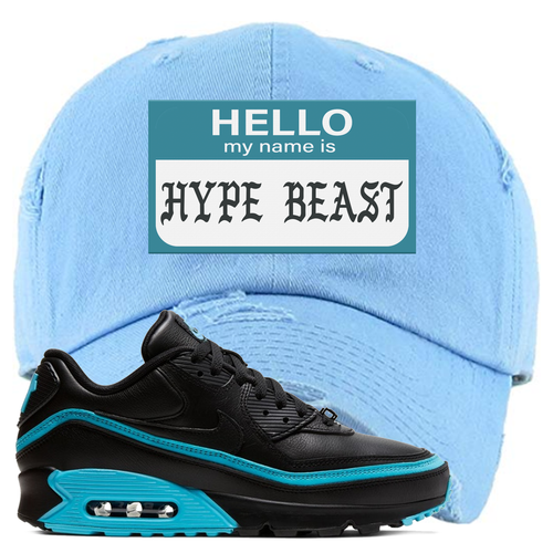 Undefeated x Nike Air Max 90 Black Blue Fury Hello My Name is Hype Beast Light Blue Sneaker Matching Distressed Dad Hat