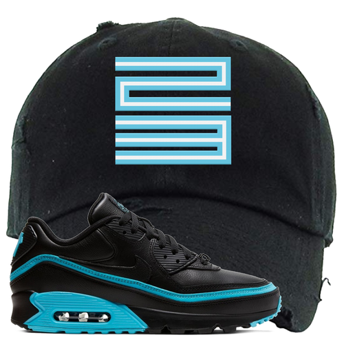 Undefeated x Nike Air Max 90 Black Blue Fury Jordan 11 23 Black Sneaker Matching Distressed Dad Hat