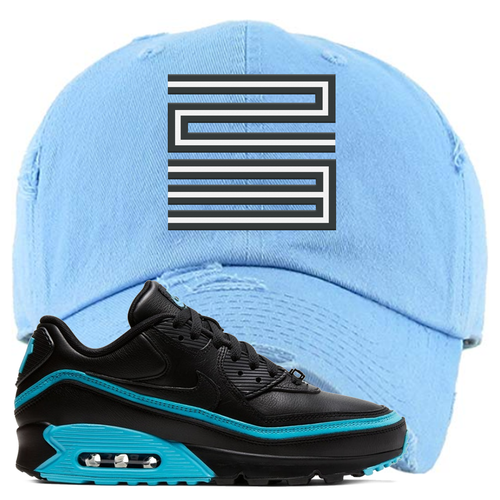 Undefeated x Nike Air Max 90 Black Blue Fury Jordan 11 23 Light Blue Sneaker Matching Distressed Dad Hat