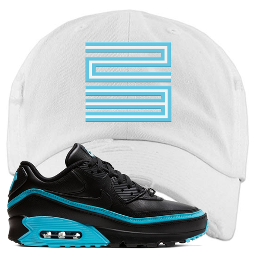 Undefeated x Nike Air Max 90 Black Blue Fury Jordan 11 23 White Sneaker Matching Distressed Dad Hat