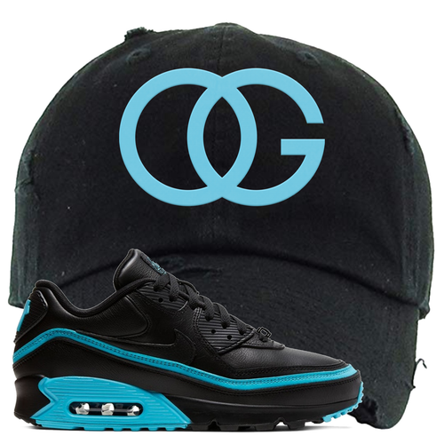 Undefeated x Nike Air Max 90 Black Blue Fury OG Black Sneaker Matching Distressed Dad Hat