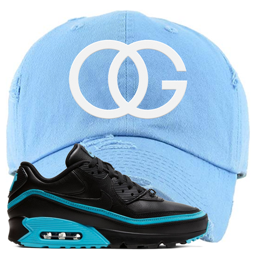 Undefeated x Nike Air Max 90 Black Blue Fury OG Light Blue Sneaker Matching Distressed Dad Hat