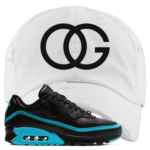 Undefeated x Nike Air Max 90 Black Blue Fury OG White Sneaker Matching Distressed Dad Hat