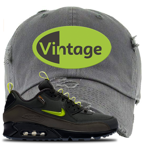 The Basement X Nike Air Max 90 Manchester Vintage Oval Dark Gray Sneaker Matching Distressed Dad Hat