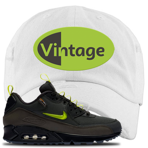 The Basement X Nike Air Max 90 Manchester Vintage Oval White Sneaker Matching Distressed Dad Hat