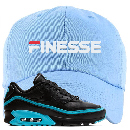 Undefeated x Nike Air Max 90 Black Blue Fury Finesse Light Blue Sneaker Matching Dad Hat