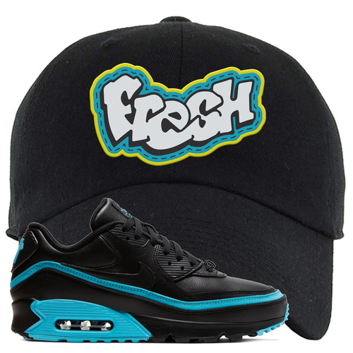 Undefeated x Nike Air Max 90 Black Blue Fury Fresh Black Sneaker Matching Dad Hat