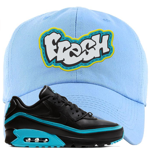 Undefeated x Nike Air Max 90 Black Blue Fury Fresh Light Blue Sneaker Matching Dad Hat