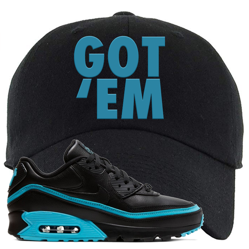 Undefeated x Nike Air Max 90 Black Blue Fury Got Em Black Sneaker Matching Dad Hat