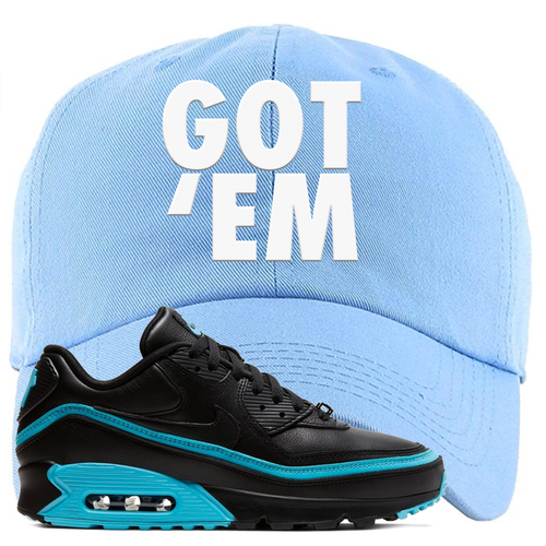 Undefeated x Nike Air Max 90 Black Blue Fury Got Em Light Blue Sneaker Matching Dad Hat