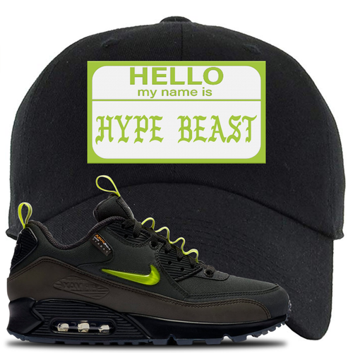Undefeated x Nike Air Max 90 Black Blue Fury Hello My Name is Hype Beast Black Sneaker Matching Dad Hat