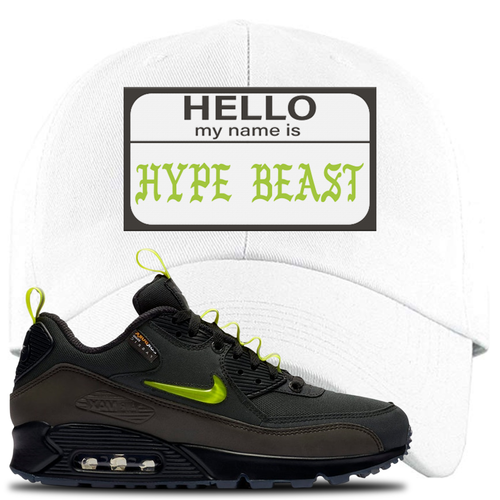 Undefeated x Nike Air Max 90 Black Blue Fury Hello My Name is Hype Beast White Sneaker Matching Dad Hat