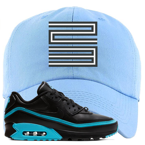 Undefeated x Nike Air Max 90 Black Blue Fury Jordan 11 23 Light Blue Sneaker Matching Dad Hat