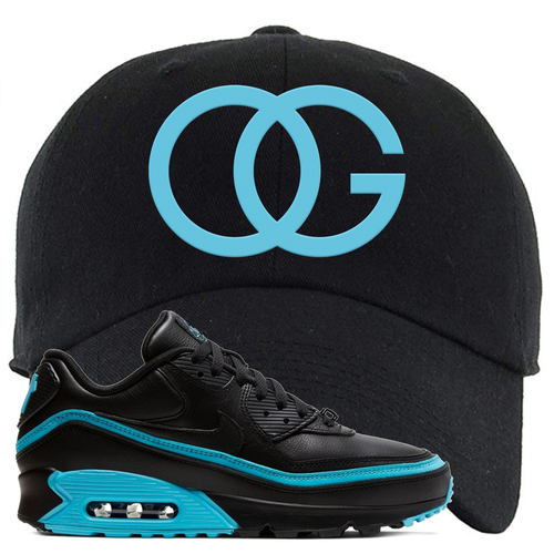 Undefeated x Nike Air Max 90 Black Blue Fury OG Black Sneaker Matching Dad Hat
