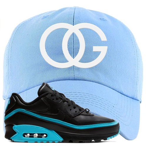 Undefeated x Nike Air Max 90 Black Blue Fury OG Light Blue Sneaker Matching Dad Hat