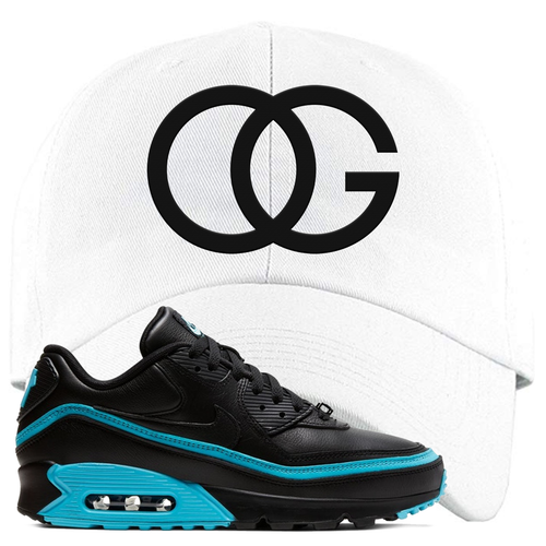 Undefeated x Nike Air Max 90 Black Blue Fury OG White Sneaker Matching Dad Hat