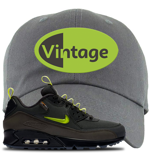 The Basement X Nike Air Max 90 Manchester Vintage Oval Dark Gray Sneaker Matching Dad Hat