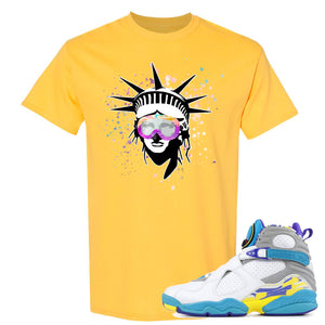 Air Jordan 8 WMNS White Aqua Sneaker Hook Up Liberty Head DAISY T-Shirt