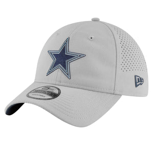 On the front of the Dallas Cowboys 2018 On Field Training Camp Dad Hat is the Dallas Cowboys logo in navy blue and white