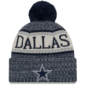 On the front of the Dallas Cowboys 2018 On Field Sports Knit Winter Beanie is the Cowboys logo in navy blue and white