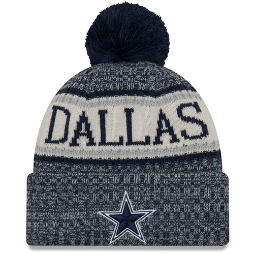 80a2c3741 On the front of the Dallas Cowboys 2018 On Field Sports Knit Winter Beanie  is the